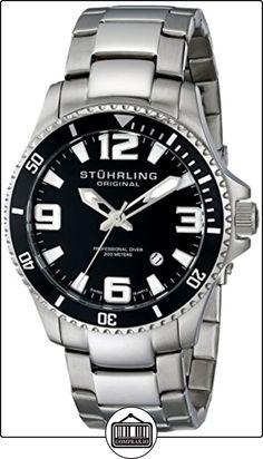 Stuhrling Original 395.33B11 - Reloj analógico de cuarzo para hombre, correa de acero inoxidable color plateado (agujas luminiscentes) de  ✿ Relojes para hombre - (Gama media/alta) ✿