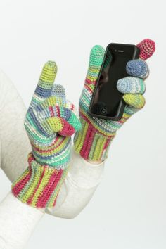 This particular crochet pattern includes a special filament (Boye SensaThread conductive filament) in the fingertips, which will allow you to use these gloves while using your favorite touch-sensitive device.