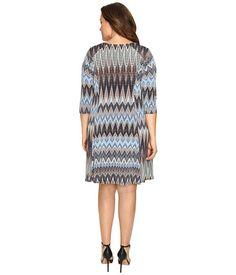 Karen Kane Plus Plus Size Zigzag A-Line Dress Print - Zappos.com Free Shipping BOTH Ways