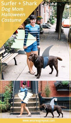 Make a simple DIY Halloween Couples Costume With your Dog: Surfer girl and shark! This is perfect for dog and their owners to trick or treat!