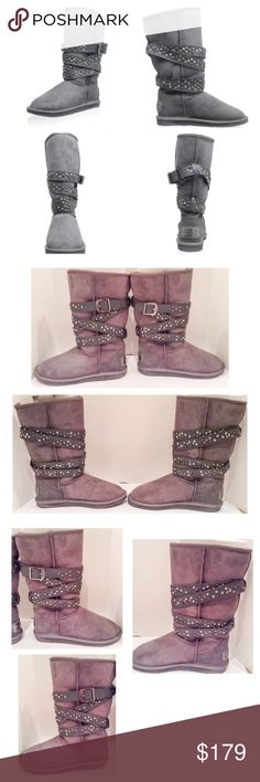 """Australia Luxe Collective Gray Devil Boot Australia Luxe Collective Devil grey gray suede boot.  Size 10 medium.  New with box.  Classic style gets an upgrade with a brilliant studded belt.  Heel:  1""""; platform:  .75""""; shaft height:  12.5""""; boot opening:  15"""".  No trades. Australia Luxe Collective Shoes"""