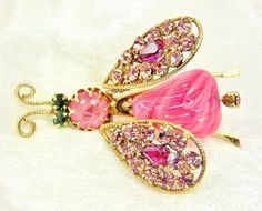 Schreiner Trembler Bug Brooch / Vintage / Pink by imagiLena