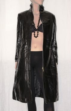 """Original 90s! Made in Italy 100% Black Leather Woman Coat Size S """"X_OFF JEANS""""…"""