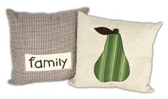 Pear/Family Pillows. A project sheet for this project can be found here: http://www.craftsdirect.com/default.aspx?PageID=311&ProjectID=631