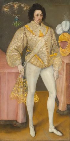 """about 1587- This painting is dated 1542 & labeled ''Sir Reginald Scott"""". The accuracy of the inscription seems doubtful as this man is dressed in ceremonial late Elizabethan style (such as Hilliard's 'Young man among roses,' dated 1587). The rich gauze scarf bears a Tudor rose and was possibly given to him by Queen Elizabeth."""