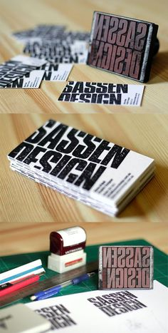DIY Handmade Rubber Stamped Business Cards