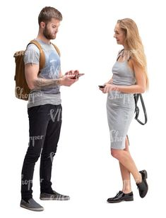 man and woman standing and talking Rain Collection, Spring Collection, Circus City, Cut Out People, Magazine Man, Sports Uniforms, Woman Standing, Blue Hair, Library Icon