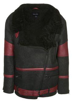 Veste en cuir April May sur  Zalando     mode  femme  cuir  noir  rouge 3dc4f7810d2