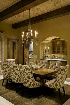 style and fabric out, leather in  Hallmark Interior Design - traditional - Dining Room - Other Metro - Hallmark Interior Design LLC