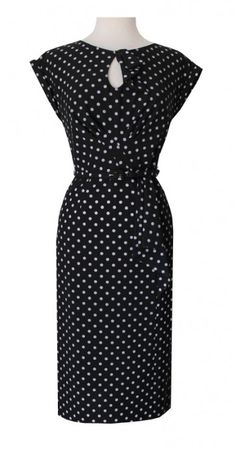 Stop Staring! Timeless Black With Grey Dot Pinup Dress