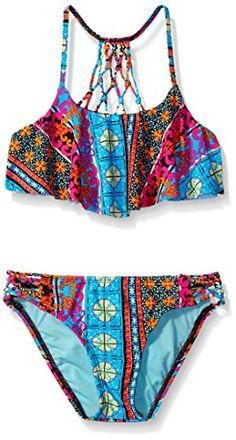 Hobie Big Girls Sun Daze Stripe Set Swim Hanky Bra Top an...…