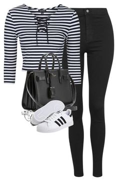 """Untitled #1175"" by lovetaytay ❤ liked on Polyvore featuring Topshop, Yves Saint Laurent and adidas"