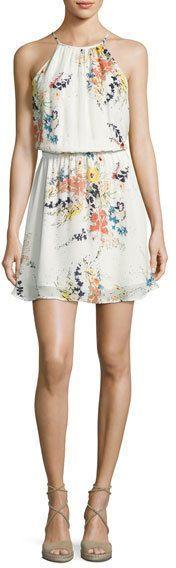 Joie Makana Silk Floral Mini Dress, Porcelain