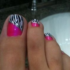 Zebra Stripe and Pink Toe Nail Designs » Nail Designs For You - http://www.naildesignsforyou.com/toe-nail-designs/ #toenails #toenaildesigns #nails #cutenails #cutenaildesigns #nailart #toenailart #zebra #stripes