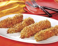 Breaded Ranch Chicken. I have personally made this and it is delicious!  breaded ranch chicken, 8 boneless skinless chicken breast halved. 1/2 cup olive oil, 3/4 cup crushed corn flakes, 3/4 cup grated Parmesan cheese, 2 tb buttermilk ranch dressing mix. Bake 30 to 45 minutes