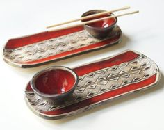 Sushi Serving Set Set of 2 Trays Red Sushi Set Ceramic by bemika Ceramic Plates, Ceramic Pottery, Sushi Platte, Pottery Patterns, Sushi Set, Ceramics Projects, White Clay, Food Design, Diy And Crafts