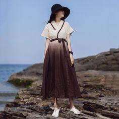 Babakud Gradient Cotton Linen Summer Dress With Belt Holiday Dresses, Summer Dresses, Types Of Sleeves, Dresses With Sleeves, Bohemia Dress, Wide Brimmed Hats, Overall Dress, Linen Dresses, Silk Dress