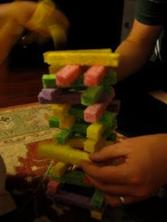 Sponge towers! I did these with my little ones at church.    Cute, quiet activity!