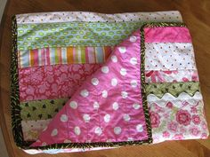 simple strips Baby quilt with Ric-Rac!!