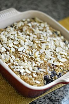 A breakfast bake featuring quinoa, steel cut oats, blueberries, bananas and Silk Vanilla Soymilk. Make this on Sunday for a quick and delicious breakfast all week long! Quinoa Breakfast, Breakfast Bake, Free Breakfast, Breakfast Ideas, Breakfast Recipes, Dairy Free Recipes, Vegan Recipes, Gluten Free, Vegan Food