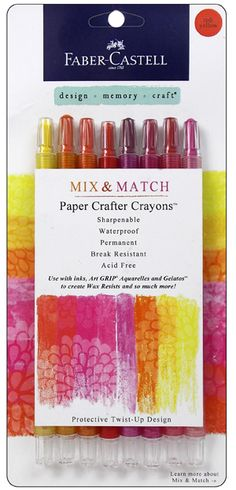 Faber-Castell - Mix and Match Collection - Paper Crafter Crayons - Red and Yellow - 8 Piece Set at Scrapbook.com
