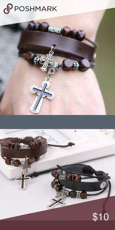 🆕Leather Wrap Bracelet New Fashion Jewelry Handmade Metal Cross  ,Adjustable Braided Bracelets,Vintage Charm Leather  ,Personality Wrap Leather Bracelet Jewelry Bracelets