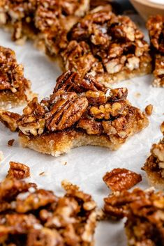 Incredible vegan & paleo pecan pie bars naturally sweetened with coconut sugar & pure maple syrup. The perfect dessert for holidays!