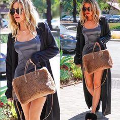 Khloe Kardashian spotten in We Are LEONE block silk maxi cardigan