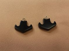 Black Colorado Oil Stone Cowboy Hat Cabochon Pair with Sterling Silver Eyehooks by SaiyoStoneJewelry on Etsy