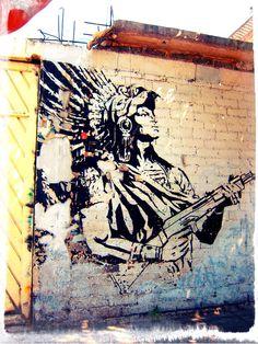 Aztec warrior with a machine gun, Xochimilco, Mexico City, Mexico.