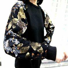 Black womens sweatshirt crew neck pullover Sequin sleeves