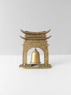 asian brass standing temple bell // gong