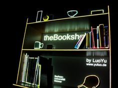 the Bookshelf by Luo Yu. A small experiment: theBookshelf is an interactive projection mapping installation which turns the physical static bookshelf into a virtual dynamic object by using projection technique and different sensors. The installation is used to warp and mask the dynamic projected images to make it fit perfectly on the Bookshelf in my room.