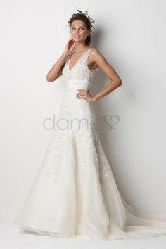 V-Ausschnitt Tüll A-Linie informelles & legeres bodenlanges rückenfreies klassisches & zeitloses Brautkleid