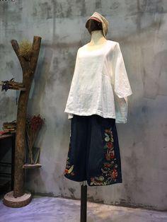 Simple Design Oversized Linen Blouse Casual Plain Doll Blouse    #top #white #blouse #oversized #shirt #plain #plussize #autumn #fall #woman