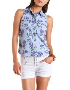 Charlotte Russe Floral Chambray   Button-Down Tank in Blue and Purple Floral Combo.  $15.99