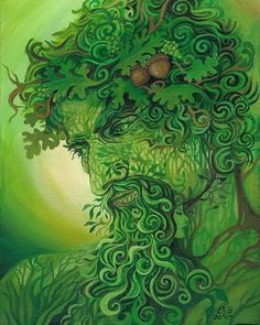 The Green Man by Emily Blaviet.  The Green Man is a legendary pagan deity who roams the woodlands of the British Isles and Europe. He usually is depicted as horned & peering out of a mask of foliage, usually the sacred oak.  He represents spirits of trees, plants and foliage.  It is believed he has rain making powers to foster livestock with lush meadows. He was frequently depicted in medieval art, including church decorations.