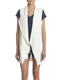 Vince - Crepe Long Draped Vest