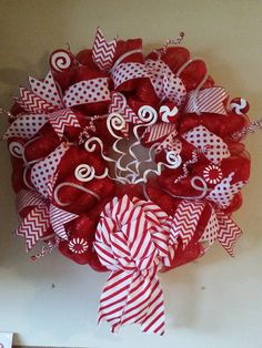 Red & White Deco Mesh Wreath by TheresaCreations2 on Etsy