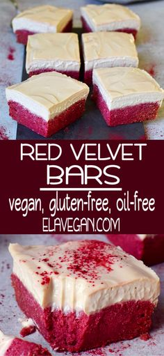 These Red Velvet Bars are vegan. gluten-free, oil-free, and super easy to make. They are rich, soft, moist, creamy, and delicious. Perfect for dessert, breakfast or a birthday party! #redvelvetcake #glutenfreecake #vegandessert #redvelvetbars #vegancake #elasrecipes | elavegan.com