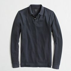 J.Crew Factory (in outlet mall by Card's Stadium) - Factory long-sleeve washed piqué polo - vintage navy or other colors - $39.50
