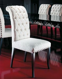 Capitonné furniture are elegant yet very comfortable. Have a look at seven superb capitonné chairs that are a wonderful addition to any dining room set. Living Room Chairs, Dining Room Design, Furniture, Dining Room Inspiration, Dining Chairs, Dining Chair Design, Dining Room Decor, Dining Table Design, Dining