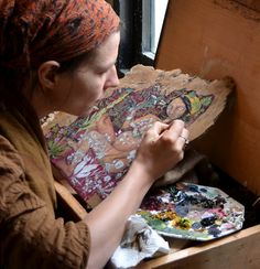 """Rima Staines painting """"The Weed Wife"""". Rima is an inspiration to me. She is a story-teller, artist, traveller, musician living an authentic life."""