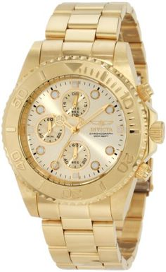 Invicta 200m Pro Diver Collection Chronograph 18k Gold Plated Watch   From Invicta