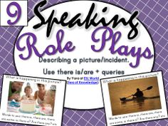 Pack 9 - Speaking. Students can play a game where they decribe their picture to their partner and the partner will try to 'imagine' this in their minds / draw the picture they understand. It is a fun practice scenario which helps engage the students and create some humor at the same time! :) $ ESL World