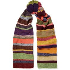 The Elder Statesman Striped cashmere scarf (1,105 CAD) ❤ liked on Polyvore featuring accessories, scarves, red, oversized shawl, cashmere scarves, cashmere shawls, multi colored scarves and colorful shawl