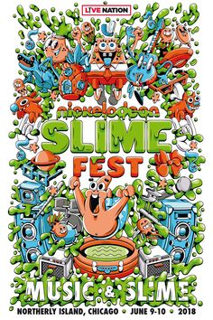 Illustration and design of the visual identitiy of Nickelodeon's Slime Fest A music festival for kids in Chicago June and 90s Cartoons, Toy Store, Portfolio Design, Slime, Collage Art, Character Design, Poster Prints, Posters, Behance