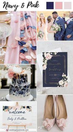 Pink Fall Weddings, Navy Blue Wedding Theme, Blue And Blush Wedding, Wedding Themes For Summer, Rustic Spring Weddings, Navy Blue Weddings, Wedding Ideas Blue, Navy Spring Wedding, Modern Wedding Theme