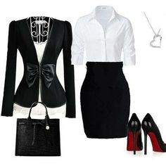 I love the bow detail of this jacket and the fitted shirt and skirt.