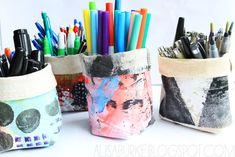 Free Tutorial - Canvas Pencil Holders by Alisa Burke Alisa Burke, Gelli Plate Printing, Wedding Tattoos, Create And Craft, Sewing Hacks, Sewing Tips, Sewing Ideas, Animal Design, Art For Kids